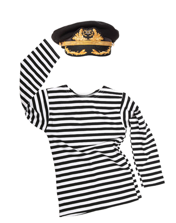 striped vest: Striped vest and captain cap isolated on white background