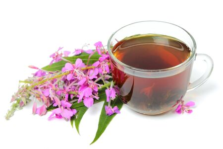 A cup of Ivan tea with flowers isolated on white background Stockfoto