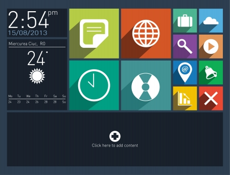 Flat user interface with long shadow icons Vector