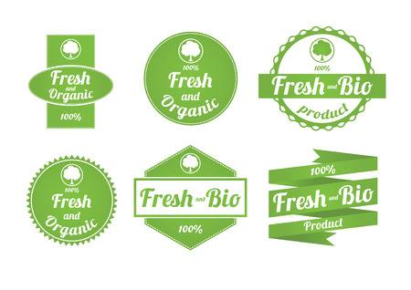 Set of fresh and organic labels Vector