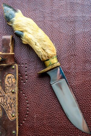 Close up of custom made knife. Hunting knife with leather case.