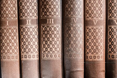 Series of brown hard cover binding books on library shelf with serial number on each book. Concept of academic student reading or reference researching.