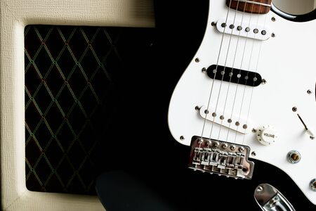 Amplifier with guitar electric and foot control buttons effect guitar. Visual concept for musicians. Stock Photo