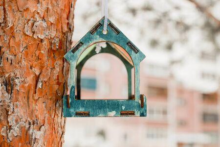 bird feeders. tree house for the birds, cheerful apartment