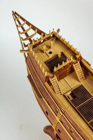 Galleon. Ship model building in progress. Standard-Bild