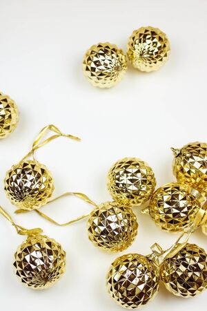 Golden and Silver Balls Top view White Background Christmas New Year Stock Photo