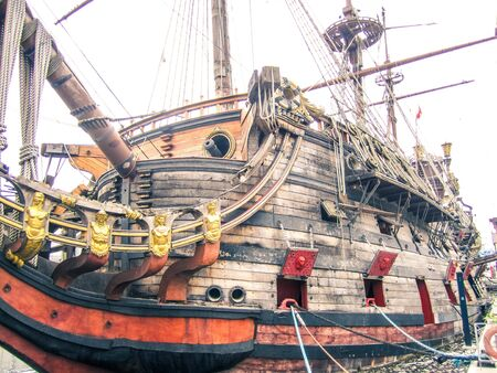 Old Spanish galleon moored in Genova harbor, Italy.