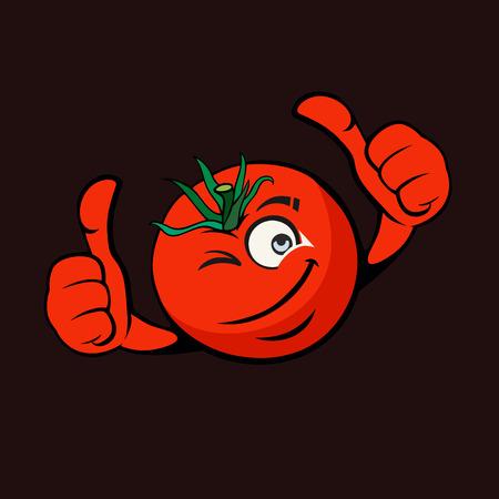 Cartoon illustration Cheesy tomato on flat design Illustration