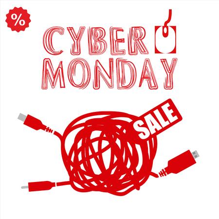 Cyber monday, Big Sale, creative template on flat design