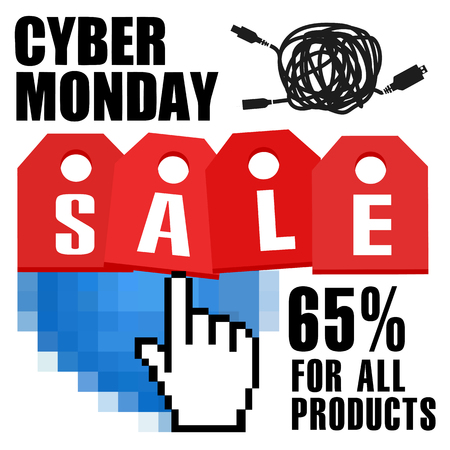 Cyber monday, Big Sale, creative template on flat design