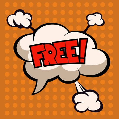 monologue: Free wording in comic speech, cloud on orange background Illustration