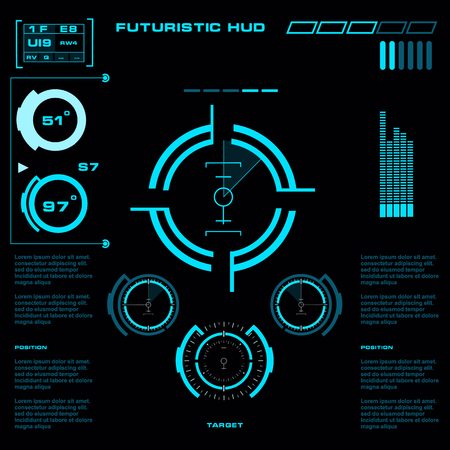 Futuristic blue virtual graphic touch user interface 向量圖像