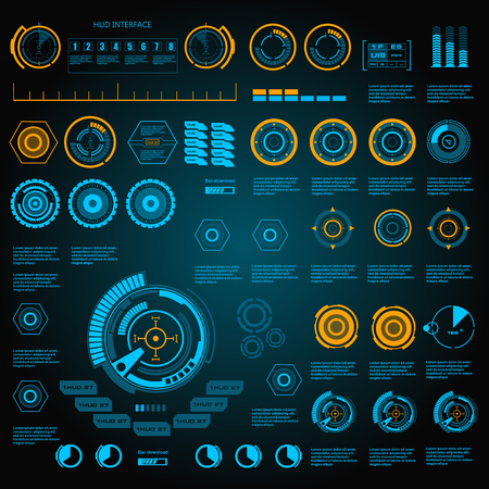 Futuristic blue virtual graphic touch user interface Illustration