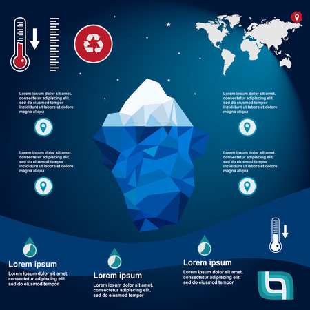 tip of iceberg: iceberg, vector, illustration, ice, water, ocean, underwater, background, design, sea, landscape, mountain, business, antarctic, concept, nature, winter, template, polar, freeze, polygon, arctic, symbol, climate, blue, environment, cold, deep, ecology, mi
