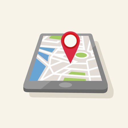 reference point: Geolocation map-pin set, red map-pin in tablet Illustration