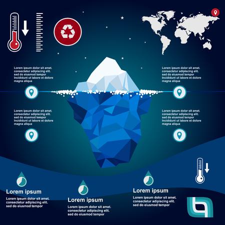 antarctica: iceberg, vector, illustration, ice, water, ocean, underwater, background, design, sea, landscape, mountain, business, antarctic, concept, nature, winter, template, polar, freeze, polygon, arctic, symbol, climate, blue, environment, cold, deep, ecology, mi