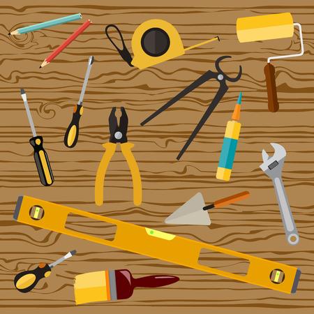 surface, closeup, wrench, screws, tool, vector, drill, repairman, renovation, roulette, level, screwdriver, pencils, flat, bolts, cutter, object, wood, ruler, brush, desktop, web, design, carpenter, pliers, spanner, set, banner, hobby, wooden, background, Illustration