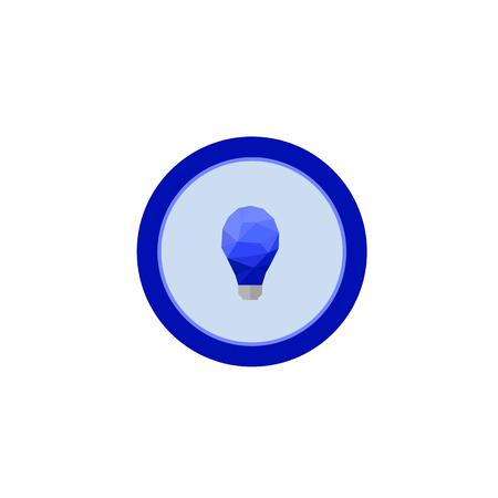 Illustration icon blue lamp in circle on flat design