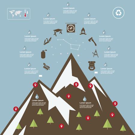 mountaineering: Illustration mountains, camping-travel elements, on flat design Illustration