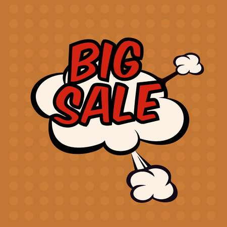 Illustration of a bomb with a big sale in comic stile, on cloud Illustration