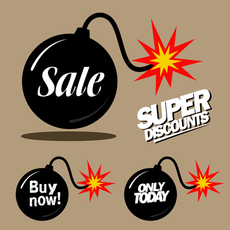 knock: Illustration of a bomb with a burning cord, super discounts