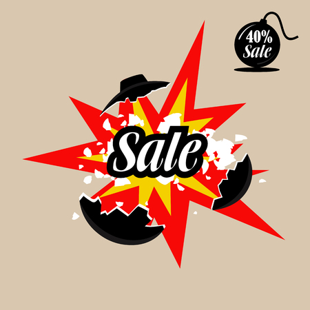 Illustration of a bomb with a burning cord, super discounts