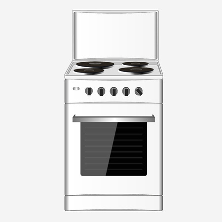 gas stove: hob, isolated, electric, kitchen, white, appliance, burner, vector, stove