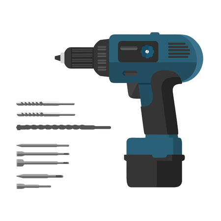 chaser: isolated, manual, electric, appliances, tool, power, vector, symbol, drill, mechanical, element, hammer, drilling, handle, household, technology, equipment, flat, cordless, illustration, object, puncher, realistic, industrial, battery, set, mechanic, work