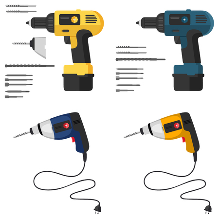 electric hole: isolated, manual, electric, appliances, tool, power, vector, symbol, drill, mechanical, element, hammer, drilling, handle, household, technology, equipment, flat, cordless, illustration, object, puncher, realistic, industrial, battery, set, mechanic, work