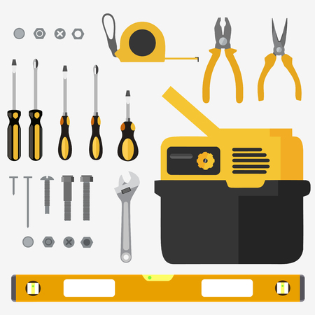 Illustration realistic set of building tools on flat design Illustration
