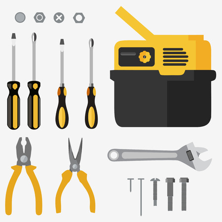 Illustration realistic set of building tools on flat design Иллюстрация