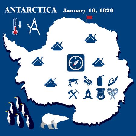 Illustration, Antarctica vector, flat design, hike elements