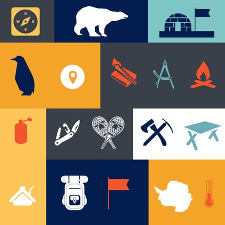 図では、南極のベクトル、フラットなデザイン、ハイキング、アイコンの要素