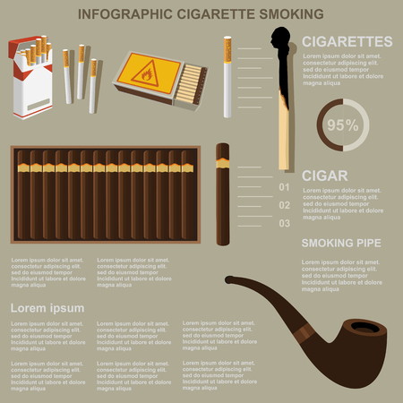matchbox: Infographic cigarette smoking, flat design, vector, template