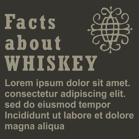 irish pub label design: Poster facts about Whiskey, flat design, vector, template Illustration