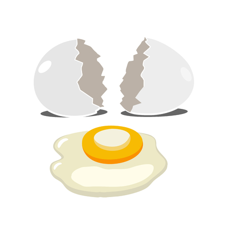 Realistic broken egg on white background in a flat design