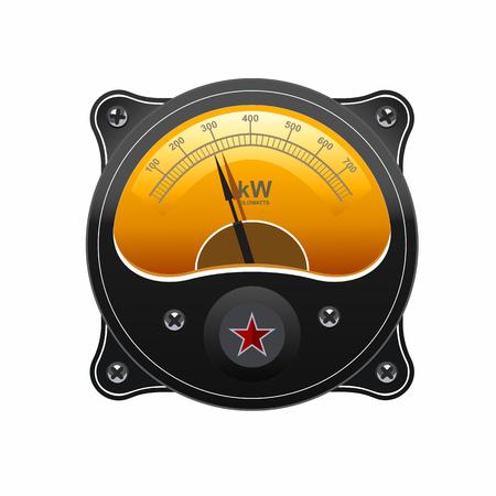 display, dashboard, screws, illuminated, power, interface, sensors, sound, vector, ampere, elements, measurement, decibel, data, graphic, black, ammeter, scale, technology, graph, equipment, illustration, maximum, system, measuring, retro, panel, realisti Illustration