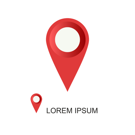 Red geolocation vector icon on white background