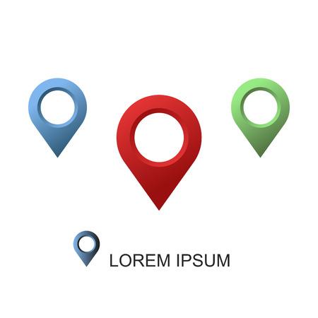 Set geolocation vector icon on white background Иллюстрация