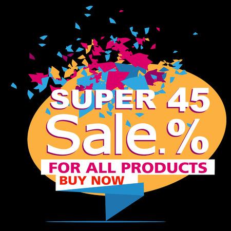 Super sale, paper banner, sale background, big sale,poster sale Illustration