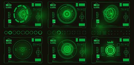 Futuristic blue virtual graphic touch user interface Ilustração