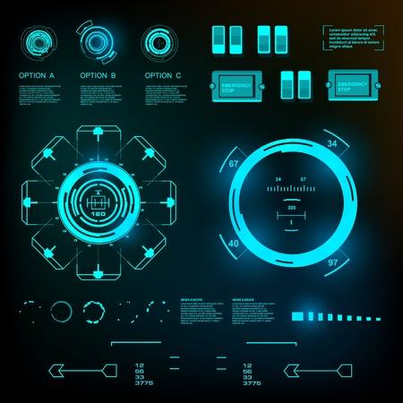 dashboard: Futuristic virtual graphic touch user interface.