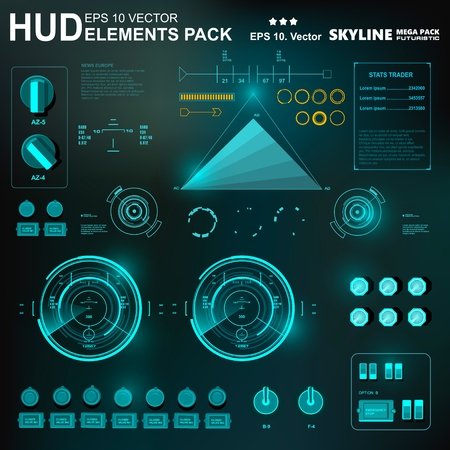Futuristic virtual graphic touch user interface, HUD Reklamní fotografie - 85934134
