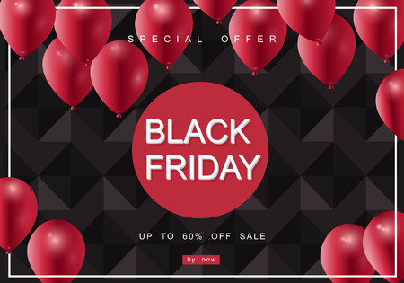 Black Friday Sale with best offers discount, flat 55 off, creative typographical background. Ilustrace
