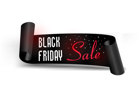 Black Friday Sale with best offers discount, flat 55 off, creative typographical background. Illustration