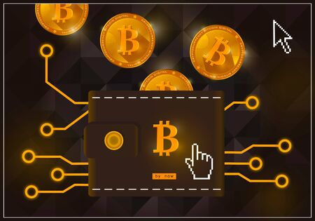 Wallet with crypto currency bitcoins on a black background Reklamní fotografie - 88627523