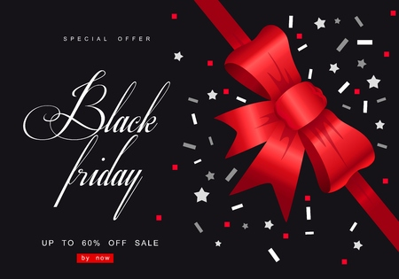 Black Friday Sale with best offers discount, flat 55 off, creative typographical background. Reklamní fotografie - 88628024
