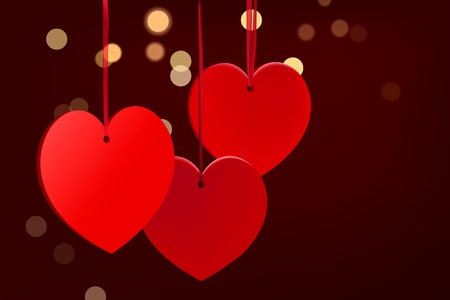 Valentines day burgundy background with red hearts
