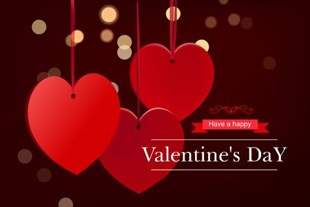Valentines day burgundy background with red hearts on ribbon