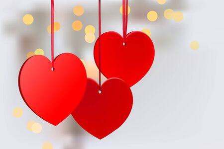 Valentines day white background with red hearts on ribbon Reklamní fotografie